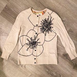 ANTHROPOLOGIE Cream/Tan Embroidered Cardigan sz XS